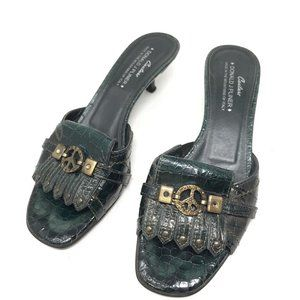 Donald J Pliner Dk Green Mules Peace Sign Emblem